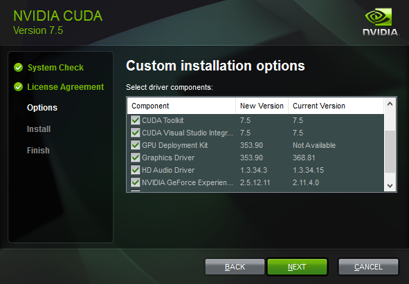 NVIDIA CUDA Installer Custom Options