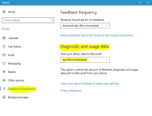 windows 10 telemetry change level in privacy settings